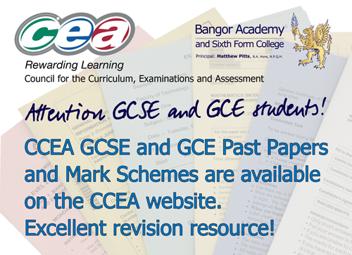 CCEA Past papers and Mark schemes online!