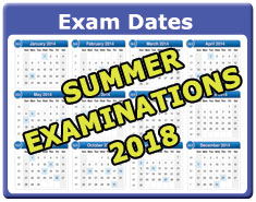 Summer 2018 Examination timetabel