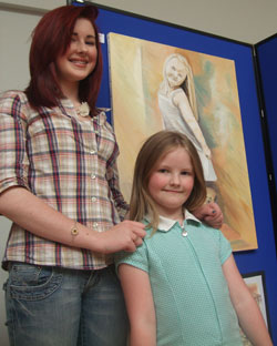 GCSE Artist with painting of her sister