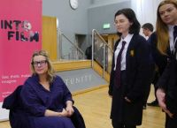 Bangor Academy Film buffs meet top Location Manager, Catherine Geary.
