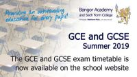 GCE and GCSE Exam timetable